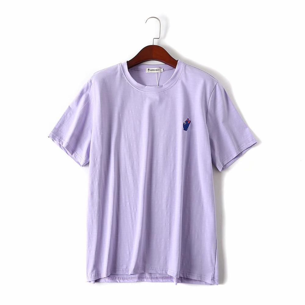 Plus Size Cotton Embroidery Women Loose Lavender Tshirts 2020 New Summer Casual Ladies Soft T Shirts Female Tops T-shirts
