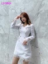 2019 ladies' tweed slim slimming fringe dress Knee-Length  Button  Regular  Natural  V-Neck  Solid  Sheath  Office Lady tie neck fringe detail tweed dress
