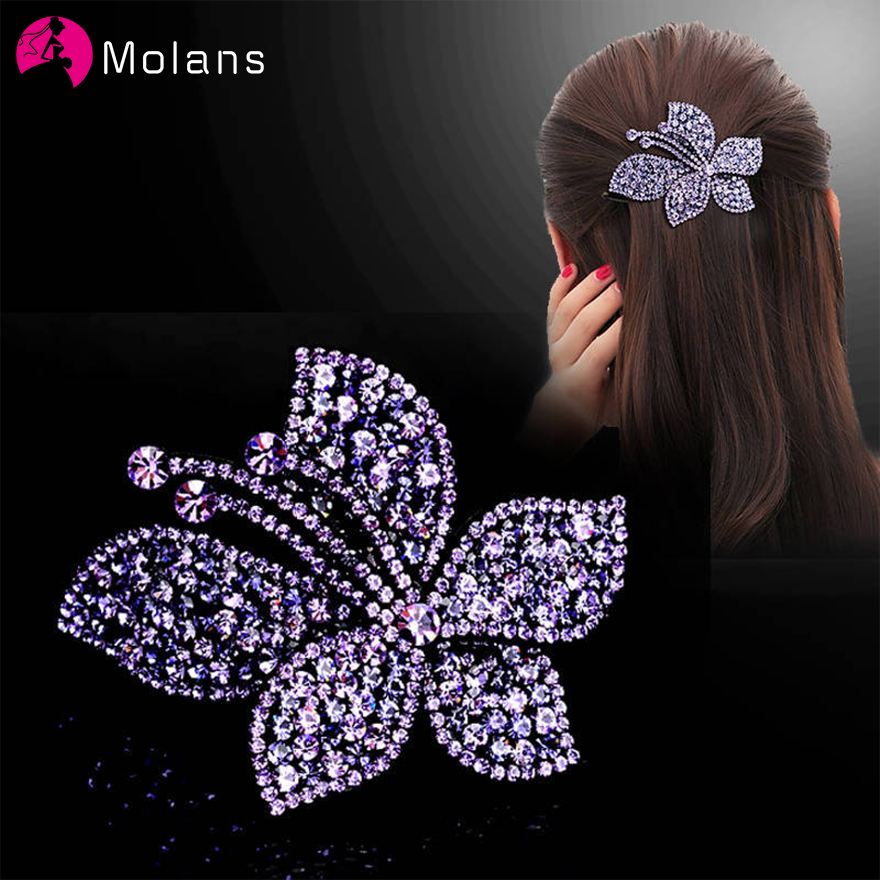Molans Solid Drills Flower Hairpins Purple Full Rhinestones Charming Women Hair Clips 4 Colors Optional Hair Accessories Female