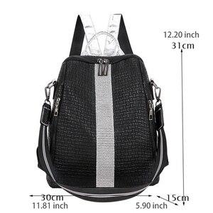 Image 2 - PU Retro yumuşak deri Sequins moda sırt çantası kadın kadın sırt çantası eğlence seyahat Mochila okul çantaları yüksek kapasiteli büyük kızlar