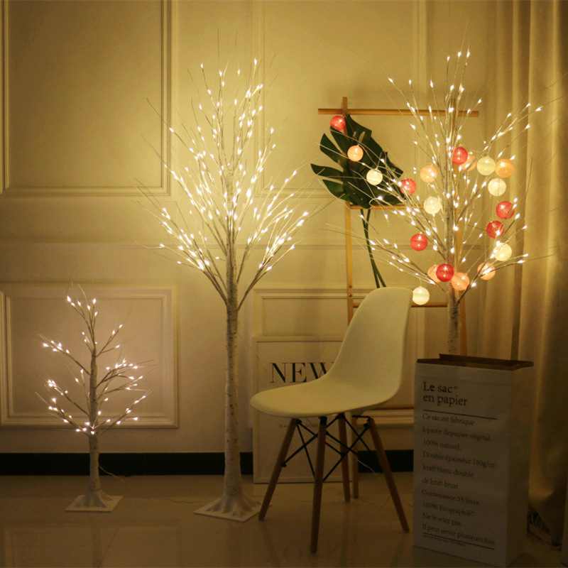 Silver Birch Lamp Shining Tree Lights LED Christmas Imitative Tree New Year Colorful Lights Home Decorative Lamp Spring Festival