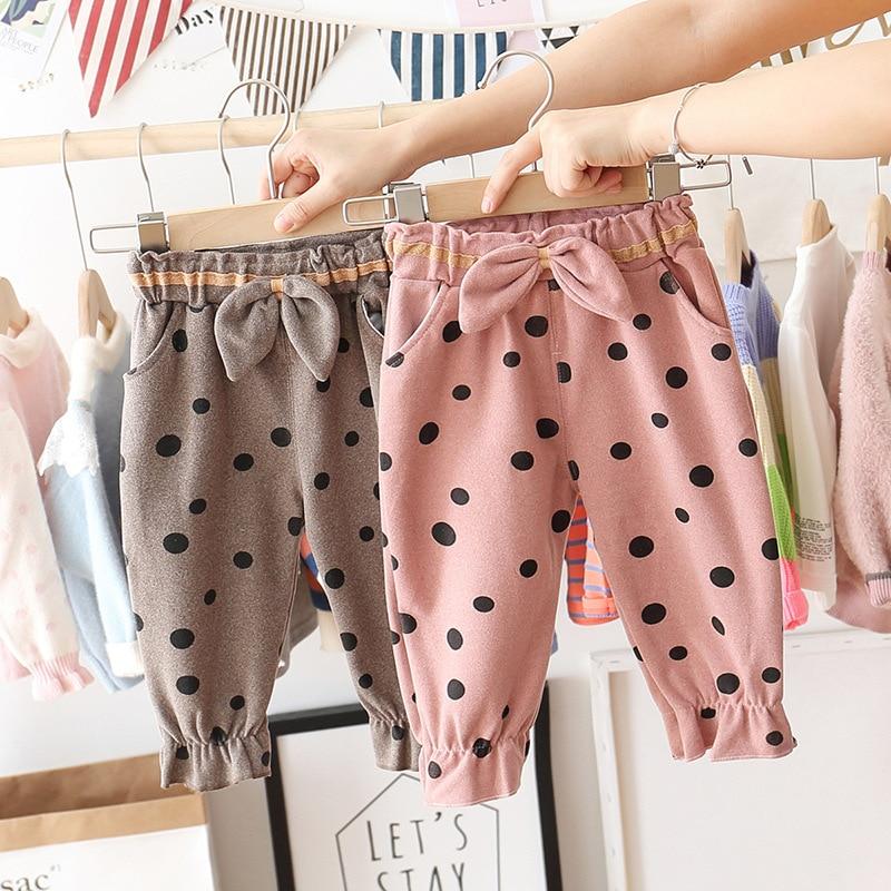 New Baby Girls Dot Bow Trousers Baby Girls Slacks Spring Autumn Period Children's Pants Kids