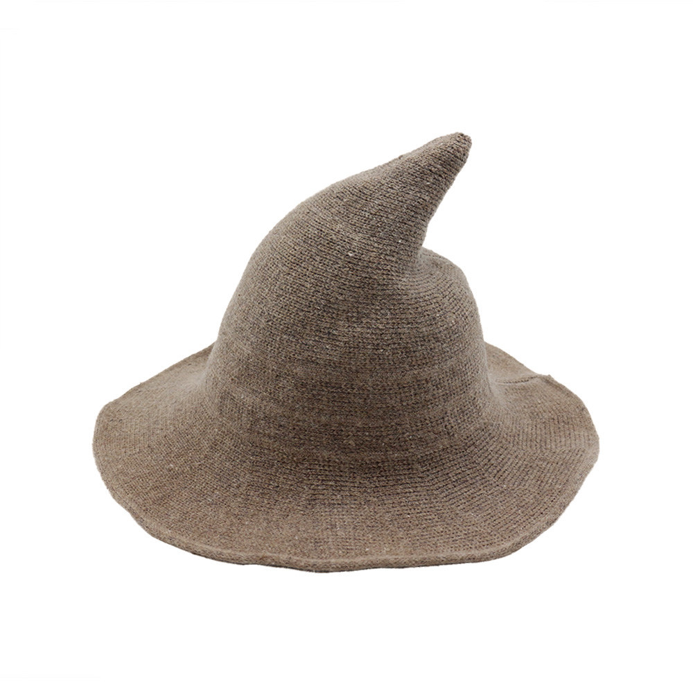 Sheep Wool Knitted Witch Hat Cute Women Halloween Christmas Costume Party Foldable Warm Stylish Winter Hats