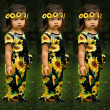 2019 New Summer Childrens Clothing Sunflower Printing Tether Short-Sleeved Jumpsuit Girls Party Clothes
