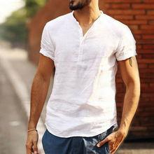 Мужские рубашки льняное с короткими рукавами летняя однотонная уличная мужская Повседневная Свободная Мягкая футболка
