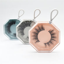 Portable False Eyelash Packaging Box Acrylic Polygonal Keychain Empty Lash Package Case For The Travel Make-up With Tray(China)