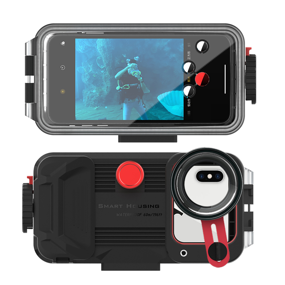 Waterproof Phone Case For iphone 11 Pro Max Iphone X XR XS Max 60M/195ft Mobile Phone Protective Cover With HD Lens EVA Bag 1PC