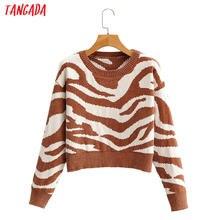 Tangada-suéter con estampado de leopardo para mujer, sudadera de cachemir tejida con punto, jersey de cuello redondo, SY108, otoño 2020