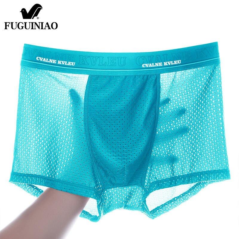 2020 Panties Mens Ice Silk Boxer Underwear Men Mesh Boxers Breathable Sexy Boxershorts Man Solid Comfortable Underpants 4XL