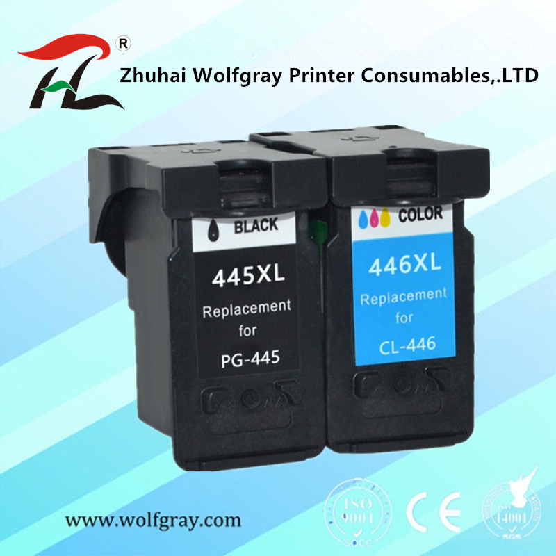 YI LE CAI Compatible PG 445 445XL Pg445 PG-445 CL-446 CL 446xl Ink Cartridge For Canon PIXMA MG 2440 2540 2940 MX494 IP2840