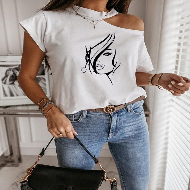 Women Tshirt Summer Off Shoulder Sleeve Hipster Hairdresser Stylist Scissors Print Tee Shirt Femme Harajuku T Shirt Women Tops