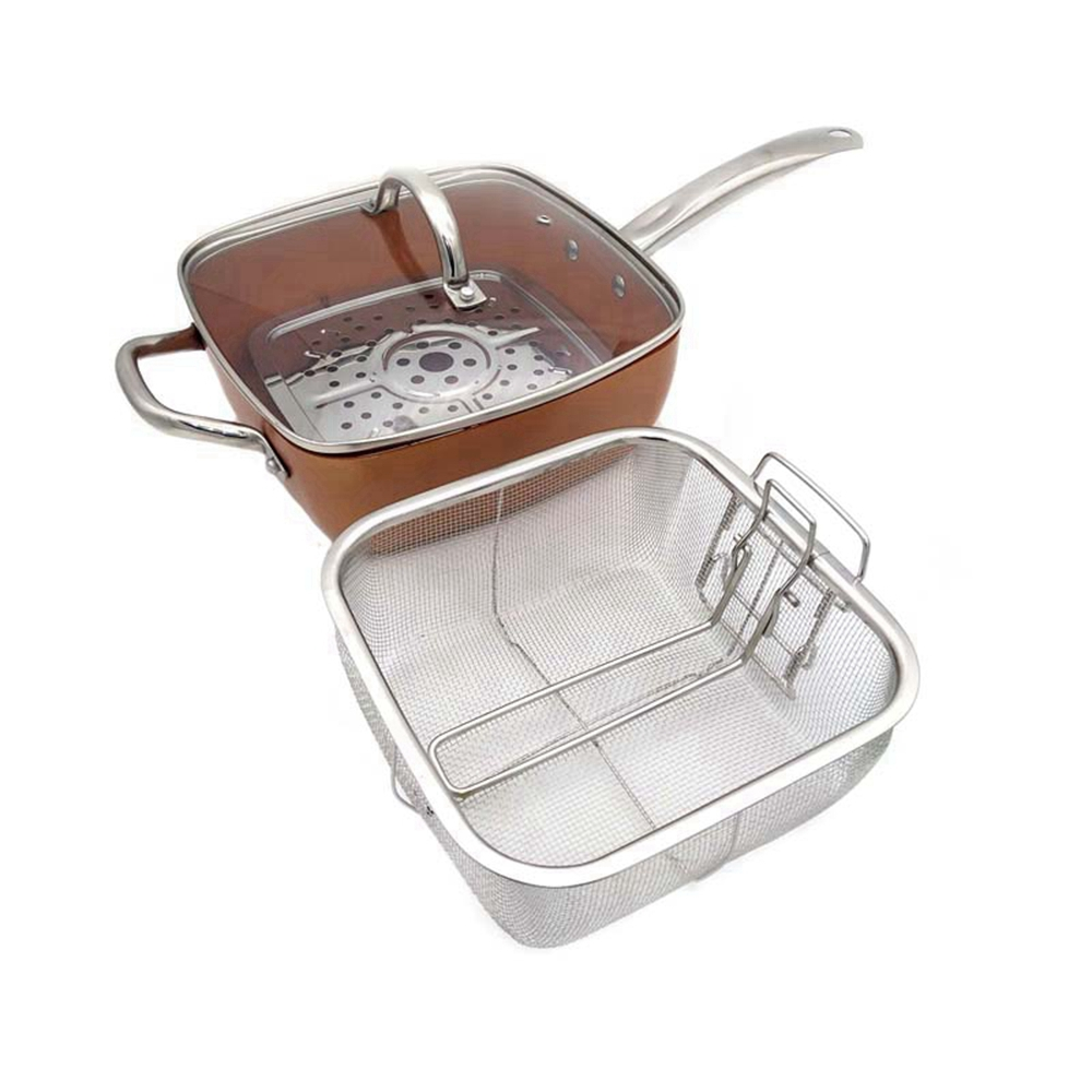 Casserole carrée en cuivre Chef à Induction avec couvercle en verre panier à frire, support à vapeur 4 pièces, 9.5 pouces utilisés dans l'induction
