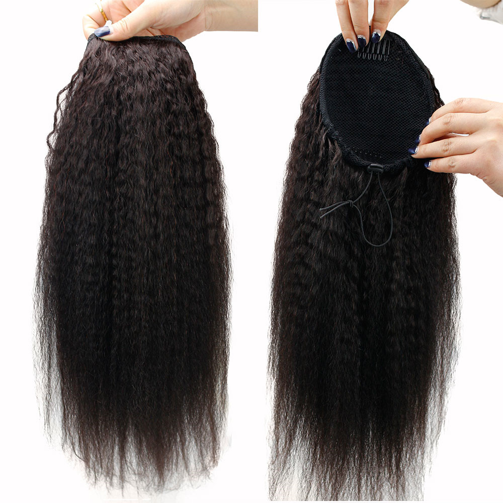 "Eseewigs Kinky Straight Human Hair Ponytail Extensions Clip In Brazilian Remy Hair Bun Drawstring  Natural Color 22"" for Women"