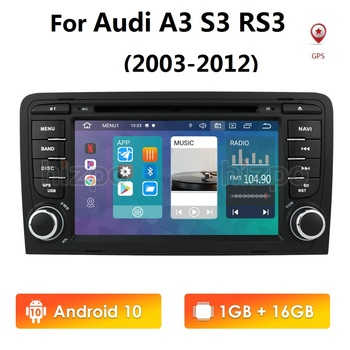 Android 10 2 din 7 Inch IPS HD CAR Radio GPS For Audi A3 8P 2003-2012 S3 2006-2012 RS3 Sportback 2011 stereo player 4G WIFI TPMS image