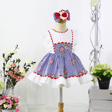 Cutestyles New Rose Stripe Printed Dress Girl Boutique Clothes for Girls Age 3 to 12 YearParty Children Clothing EG-DMGD203-66(Hong Kong,China)