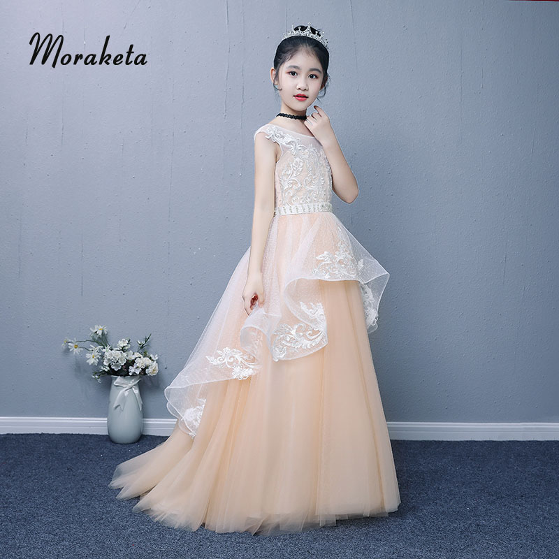 Ball Gown Princess Sleevelsss Long Champagne   Flower     Girl     Dresses   For Wedding Luxury Appliques Tulle Toddler Pageant   Dresses