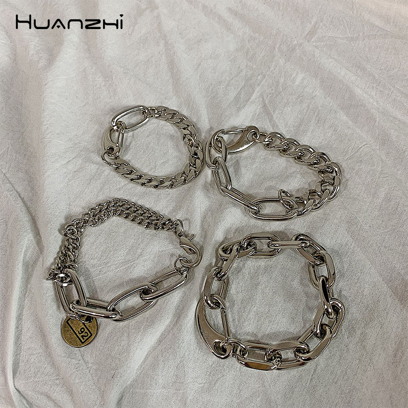 HUANZHI Silver Color Punk Bangle Classic Hip Hop Harajuku Thick Chain Thin Double Pendant Link Round Bracelet For Men Jewelry