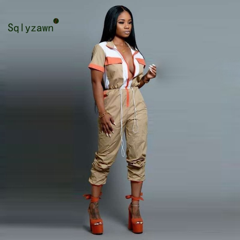 Casual Khaki Patchwork Turn-Down Collar Jumpsuits Women Zipper Short Sleeve Rompers Drawstring Fashion Slim Autumn 2019 Jumpsuit