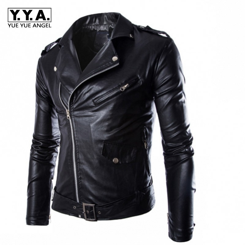 Fashion Motor Biker PU Leather Jacket Men Buckle Zip Lapel Collar British Jaqueta Motoqueiro Black White Punk Rock Outwear Coats