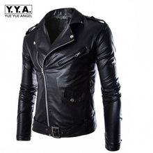 Mode Motor Biker Pu Leather Jacket Mannen Gesp Zip Revers Kraag Britse Jaqueta Motoqueiro Zwart Wit Punk Rock Uitloper Jassen(China)
