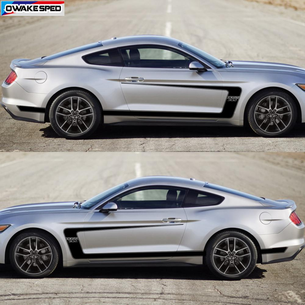 <font><b>1</b></font> set Car Styling Body Whole Stickers Auto Door Side Tail Decor Decals For Ford Mustang <font><b>GT</b></font> Shelby <font><b>Boss</b></font> 302 image