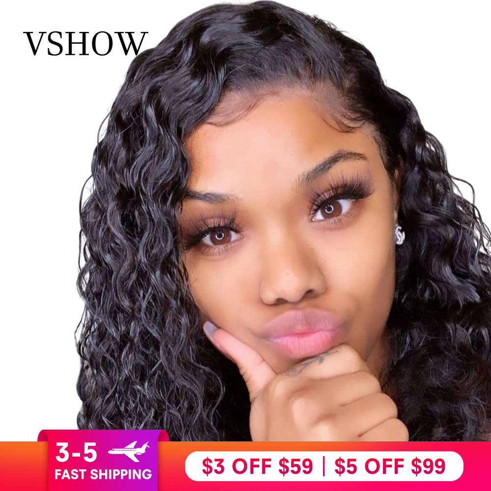 Water Wave Lace Front Wigs 130% 150% 180% Density VSHOW 13*4/13*6 Brazilian Remy Human Hair Pre Plucked 360 Lace Frontal Wig