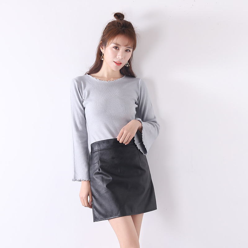 Korean-style WOMEN'S Skirt 2020 Autumn New Style High-waisted Leather Skirt A- Line Skirt Black And White With Pattern Versitile