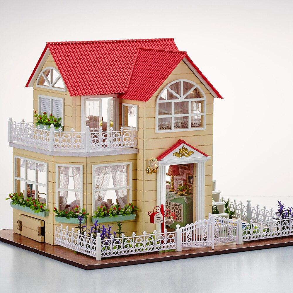 Nuevo DIY 3D casa de muñecas de madera habitación de princesa decoraciones hechas a mano Regalo de Cumpleaños niños juguete con muebles para regalo de cumpleaños - 4