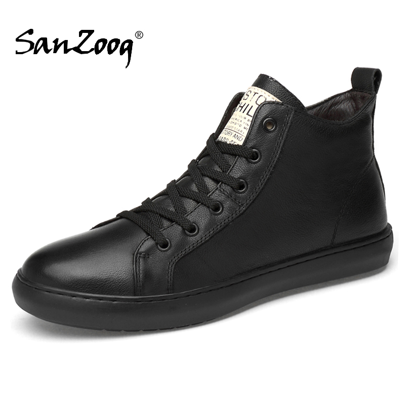 Black High Top Men Leather Sneakers Tenis Masculino Sneaker Mens Sports Shoes For Male Zapatillas Deportivas Hombre Coturno