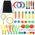 1 Set Funny Kids Diving Toys Set Underwater Water Play Toys with Storage Bag for Boys Girls Summer Games Swimming Pool Party