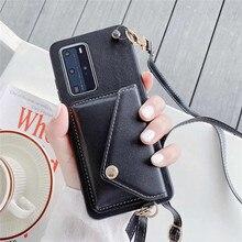 Puレザーカード財布ハンドバッグ電話ケースとS20超S10 S9プラス注20ロングストラップチェーンクロスボディバッグカバー