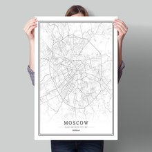 Russian Black White World City Map Poster Nordic Living Room Moscow Pskov Omsk Perm Wall Art Pictures Home Decor Canvas Painting