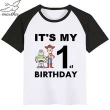 Happy Birthday Number 1-9 Toy Story Print Kids T Shirt Funny Girl Top Harajuku Round Neck Short Sleeves Boys Tshirt trendy short sleeves skulls print round neck t shirt for men