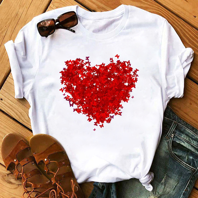 Maycaur Red Heart Butterfly Print Women Tshirt Fashion Casual O Neck Female T Shirt 90s Lady Yong Girl New Valentine's Day Gifts