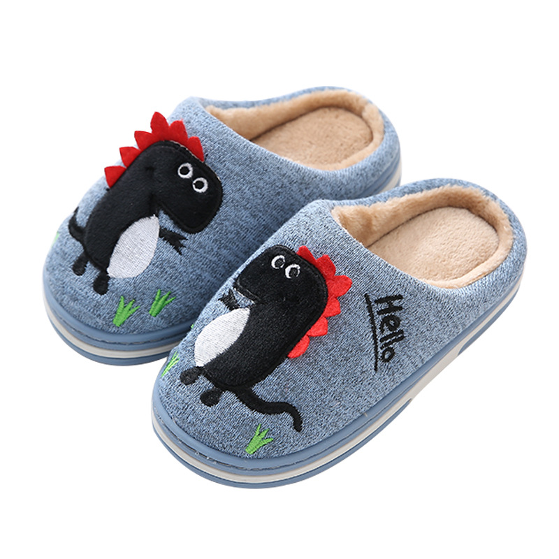 Suihyung Children Autumn Winter Warm Plush Slippers Funny Cartoon Dinosaur Home Shoes Soft Non-slip Boys Girls Indoor Slippers