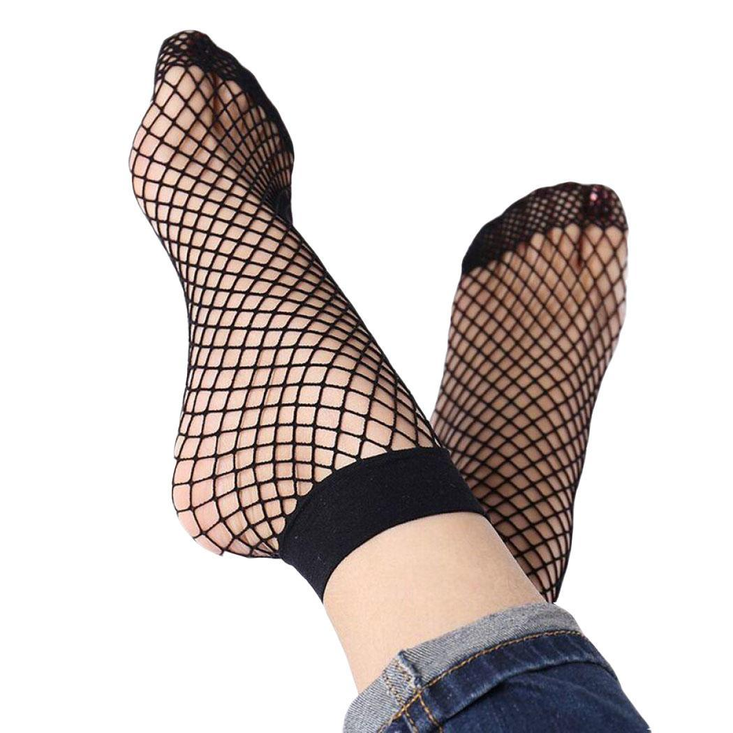 Women Fishnet Ankle High Socks Grid Hollow Out Black Mesh Short Casual Casual, Daily Life, Home Socks