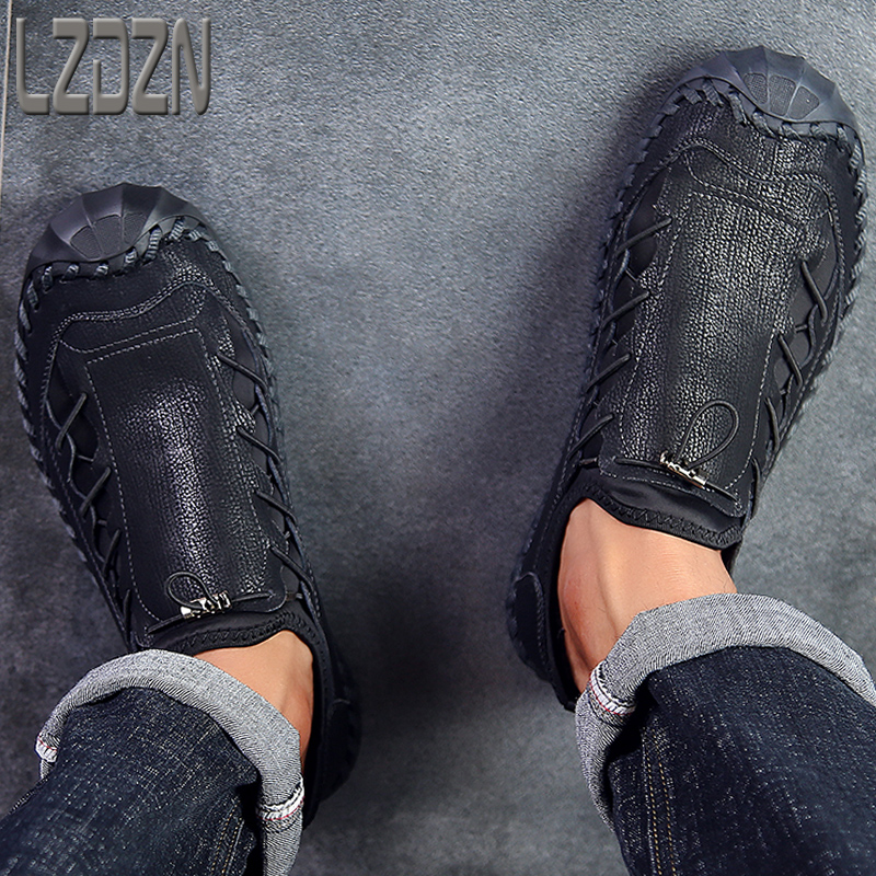 Big Foot Genuine Leather Shoes For Men's Breathable Trendy Soft-Soled Large Size 12 Casual Handmade Brand Moccasins Black Summer 6