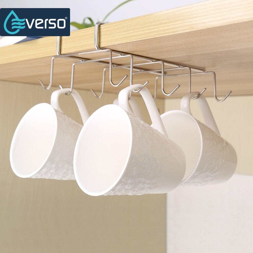 10 Hooks Cabinet  For Kitchen Storage Hanger Rack Hanging Hanger Stainless Steel Dish Shelf Cabide Hangers Organizer Accessories
