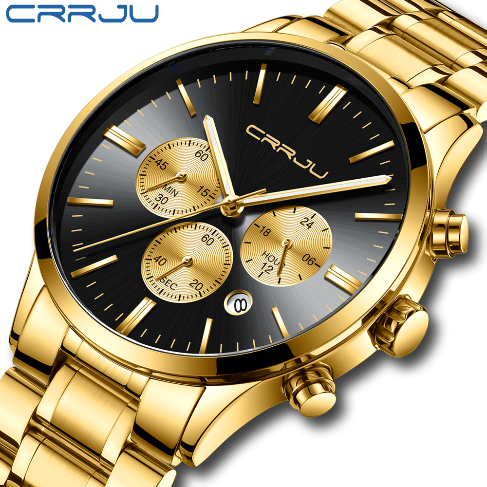 Relógio de Quartzo à Prova Relojes Inoxidável Relógio Masculino Crrju Marca Superior Luxo Negócio Dhorágua Relógios Horloges Mannen 2020 Aço