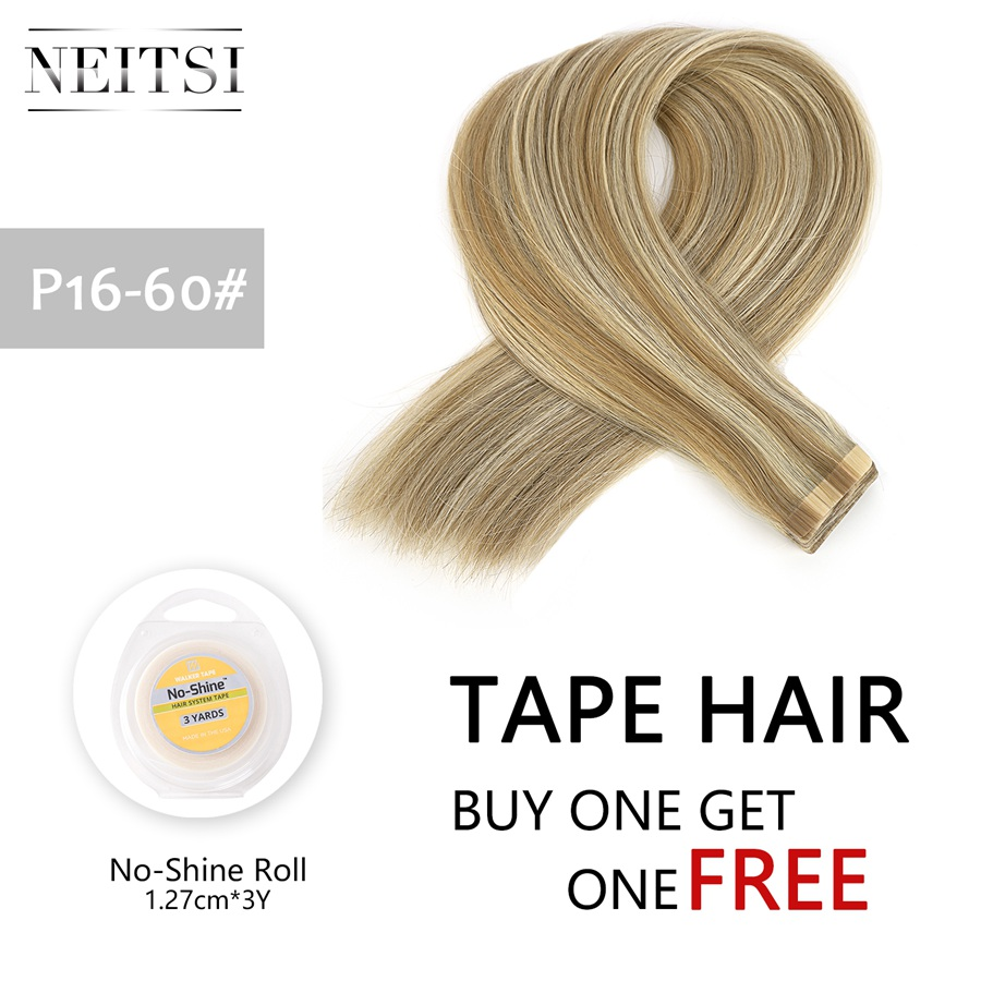 Neitsi, двойные нарисованные Человеческие волосы Remy на ленте для наращивания, прямые натуральные волосы, кожные Уток 16 20 24 , Цвет Омбре + рулон