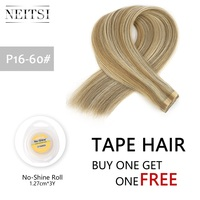 Neitsi Double Drawn Remy Tape In Human Hair Extensions Straight Real Hair Skin Weft 16 20 24 Ombre Color + Adhesive Tape Roll