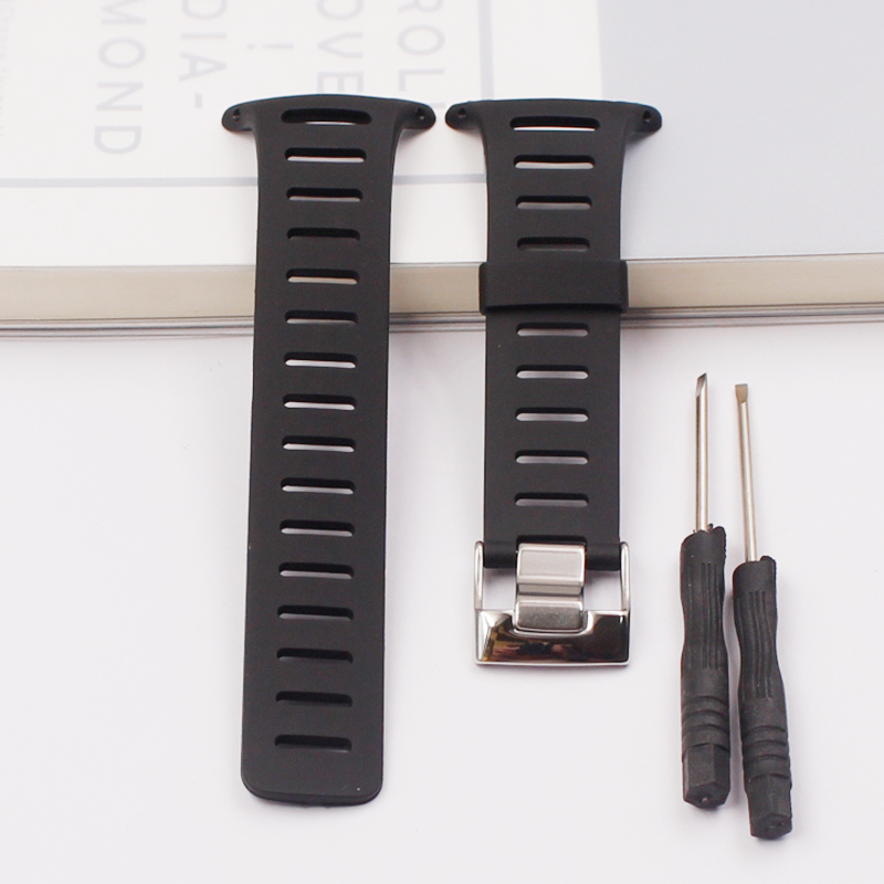 Image 2 - Stylish and exquisite black rubber strap for SUUNTO strap T1 T1C T3 T3C T3D T4C T4D outdoor sports waterproof mens strapWatchbands   -