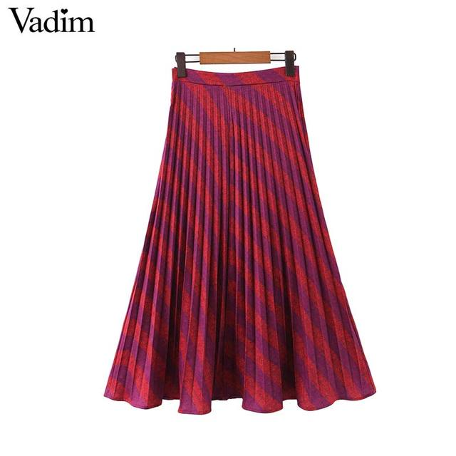 Vadim נשים אופנה פסים קפלים חצאית צד רוכסן Europen סגנון midi חצאית נקבה מקרית אמצע עגל חצאיות BA885