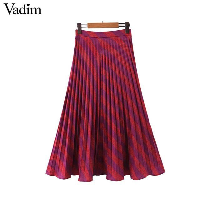 Vadim موضة النساء مخطط مطوي تنورة الجانب سستة Europen نمط ميدي تنورة الإناث عادية منتصف العجل التنانير BA885