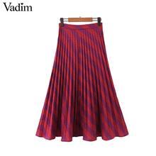 Vadim modo delle donne a righe gonna a pieghe lato della chiusura lampo di stile di Europen midi skirt donna casual a metà polpaccio gonne BA885
