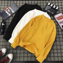Autunno E Inverno Nuovo Maglione Da Donna Tinta Unita di Base Manica Lunga O-collo Moda Sciolto Maglione Harajuku Sottile camicia