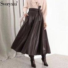 Svoryxiu винтажные женские длинные юбки из кожзаменителя осень зима Дизайнерские офисные юбки с высокой талией трапециевидной формы женские