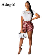 Adogirl Brief Prinetd Korte Mouw T-Shirt + slangenprint Shorts 2 Delige Set Vrouw Trainingspakken Trui En Trekkoord shorts(China)