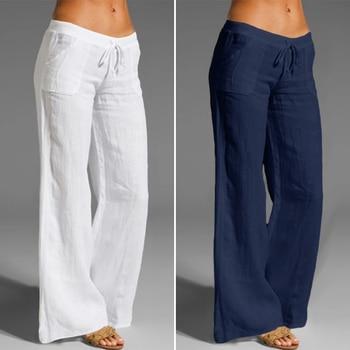 Autumn Oversized Pants Celmia Women Vintage Linen Palazzo Fashion Long Wide Leg Trousers Casual Elastic Waist Solid Pantalon 5XL