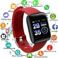 Reloj de pulsera inteligente 116 PLUS, con pantalla a color, control del ritmo cardíaco y de la presión sanguínea, seguimiento de movimiento, resistente al agua IP67